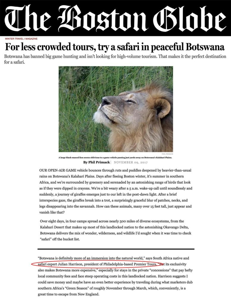 "Premier Tours' Africa expert and president featured in The Boston Globe article ""For less crowded tours, try a safari in peaceful Botswana"""