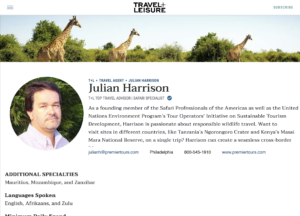 Julian Harrison on Travel+Leisure's A-List for 13th year