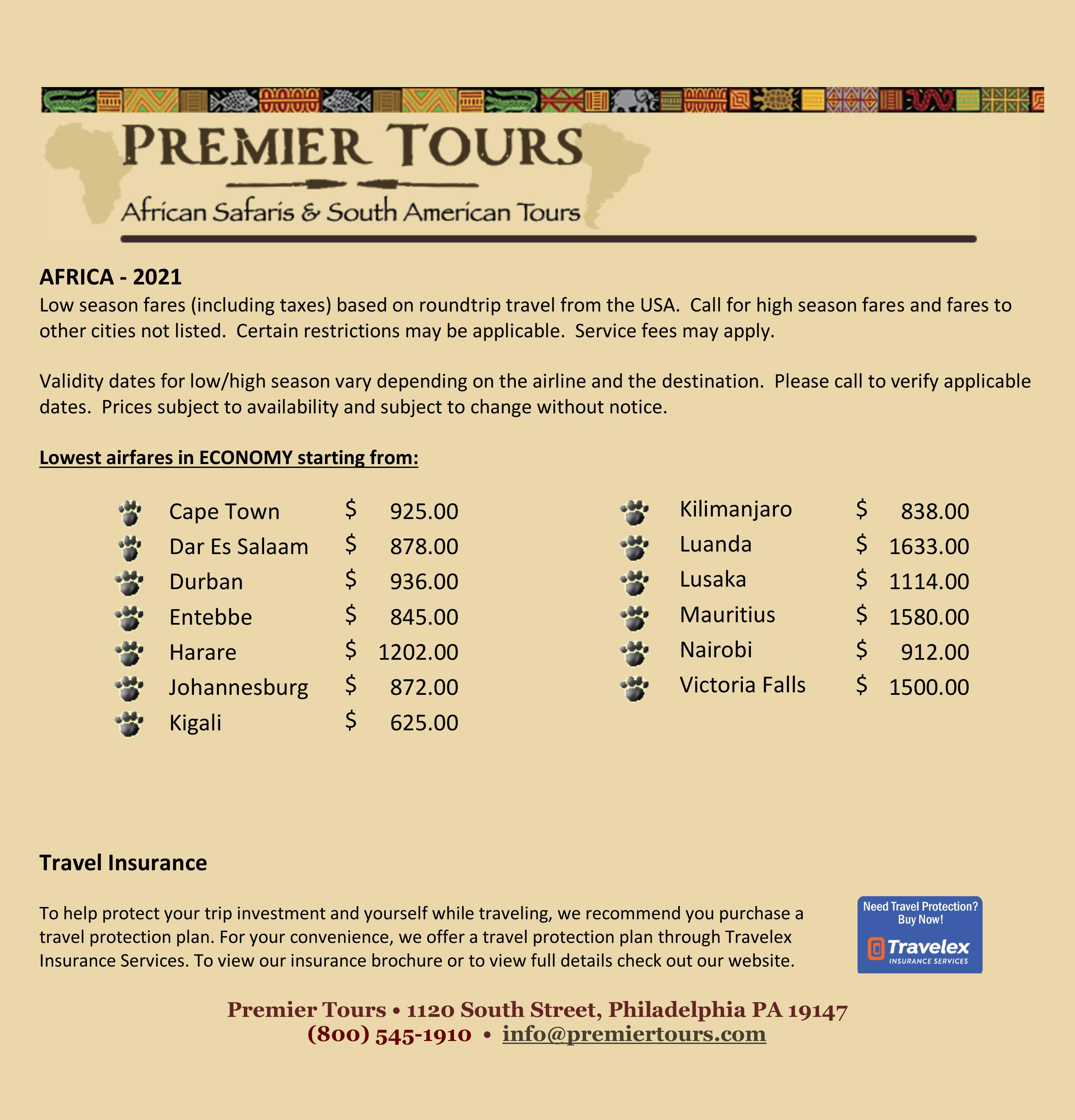 Premier Tours Airfares for 2021-09-08